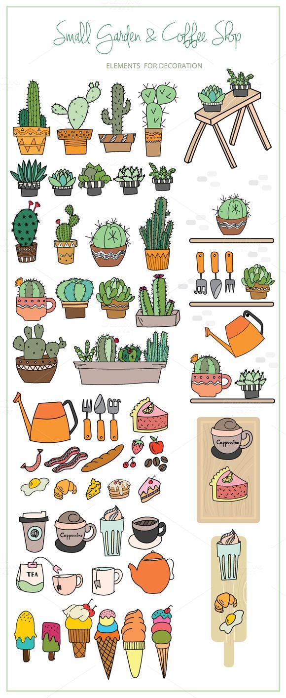 Small Garden & Coffee Shop Color Set by beerjunk on @creativemarket