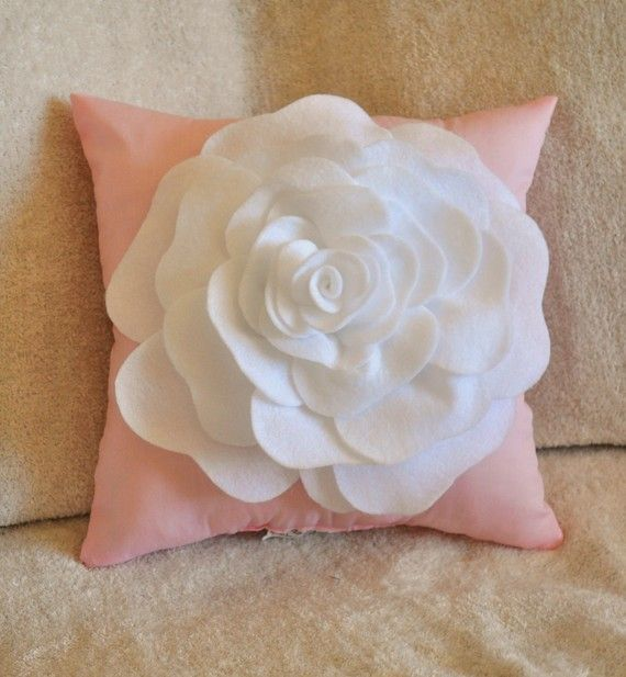 Throw Pillow White Rose on Light Pink Pillow 14x14 by bedbuggs, $31.00