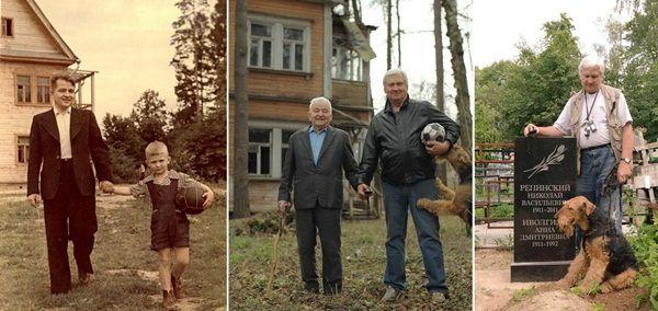 Padre e hijo (1949-2009) fotografía de padre e hijo:  La hermosa relación que puede existir entre padre-hijos es demostrada por medio de estas fotos con intervalos anuales. Y el perro como parte de una continuidad de esa relación.