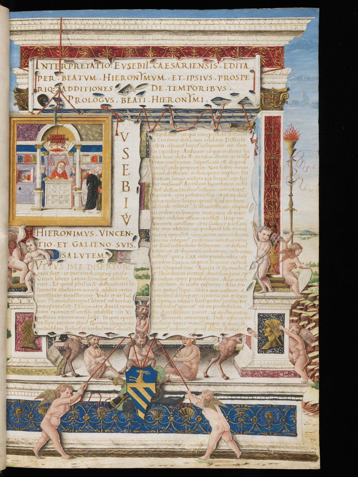 Genève, Bibliothèque de Genève, Ms. lat. 49: Chronique d'Eusèbe de Césarée · Padoue ou Venise · vers 1480 Langue:Latin (http://www.e-codices.unifr.ch/fr/list/one/bge/lat0049)