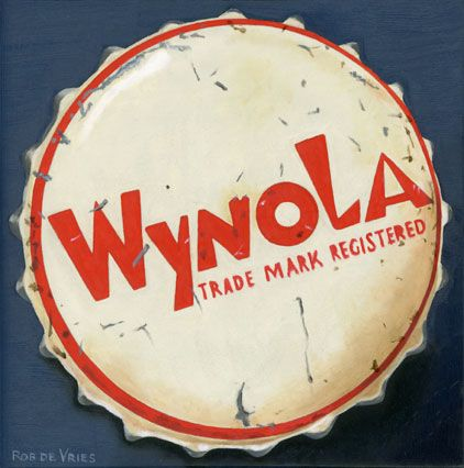 """The third vintage bottle cap painting is finished. """"Wynola"""" Oil on panel, 6 x 6 inch (15 x 15 cm)."""