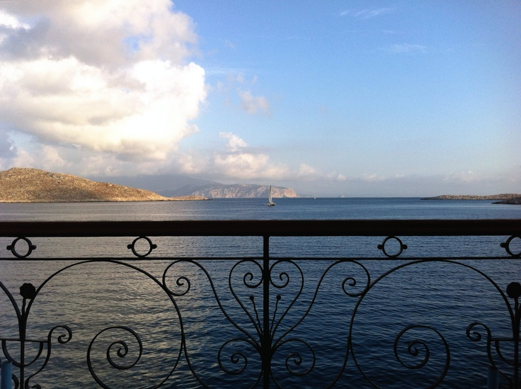 Your typical balcony in Halki. Sorry we can't describe the sound of the crystal clear water below us :)