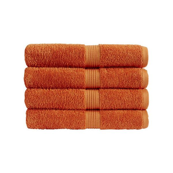 Christy Verona Towel - Mandarin (2.56 CAD) ❤ liked on Polyvore featuring home, bed & bath, bath, bath towels, fillers, fillers - orange, item, simple set fillers, orange hand towels and christy bath towels