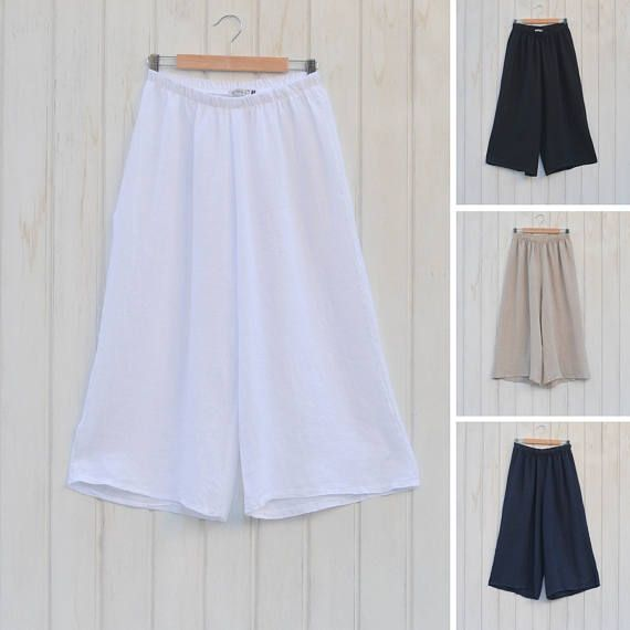 """These beautiful basic ladies linen trousers have an elasticated waist for added comfort. Perfect for creating that layered lagenlook style. Quirky Boho Gypsy Style 100% Heavy Quality Linen Inside Leg 18 inches Top Quality - Made In Italy Size 14/16/18 Hips 46""""/Waist 44″ – 46″ (Elasticated) Size 20/22/24 Hips 52""""/Waist 50″ – 52″ (Elasticated) USA UK EU 12 (L) 14 42 14 (L) 16 44 16 (XL) 18 46 18 (XL) 20 48 20 (2XL) 22 50 22 (2XL) 24 52 24 (3XL) 26 54 26 (3XL)..."""