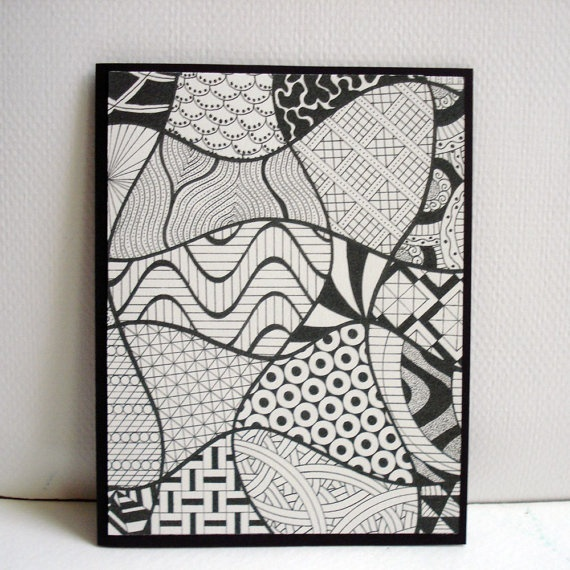 Mosaic Zentangle Cards / / Set of 4 Greeting by PosketsPaperie, $12.00