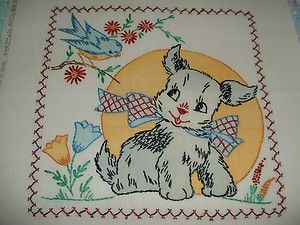 Vintage Vogart Puppy Dog Blue Bird Pillow Cover Tinted Embroidered RARE | eBay