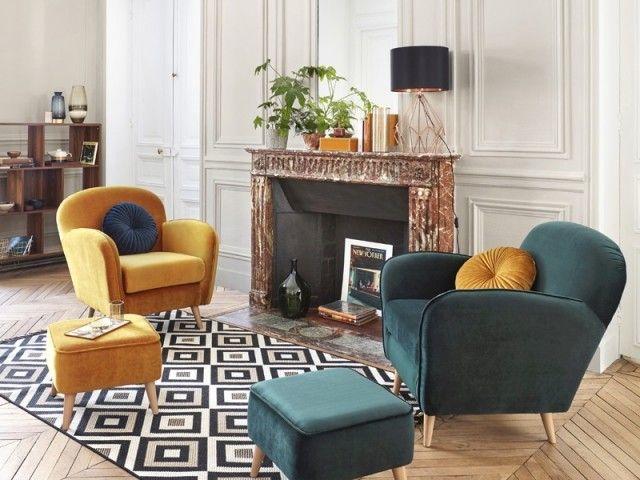 14 Conseils Pour Adopter Le Velours Decoration Salon Fauteuil Repose Pied Deco Maison