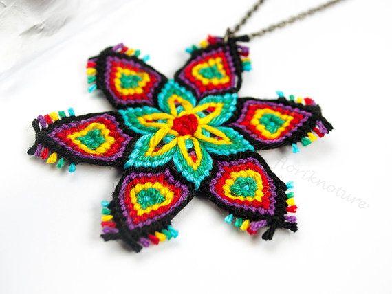 Macrame Mandala Pendant - Multicolor Handmade Knots