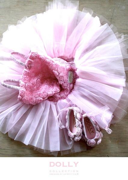 yep, rosette tutu dress and ballet flats....