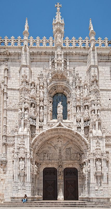 Mosteiro dos Jerónimos,   The monastery is one of the most prominent monuments of the Manueline-style architecture (Portuguese late-Gothic) in Lisbon, classified in 1983 as a UNESCO World Heritage Site, along with the nearby Tower of Belém.  Lisboa - by KimWalker.  #Portugal