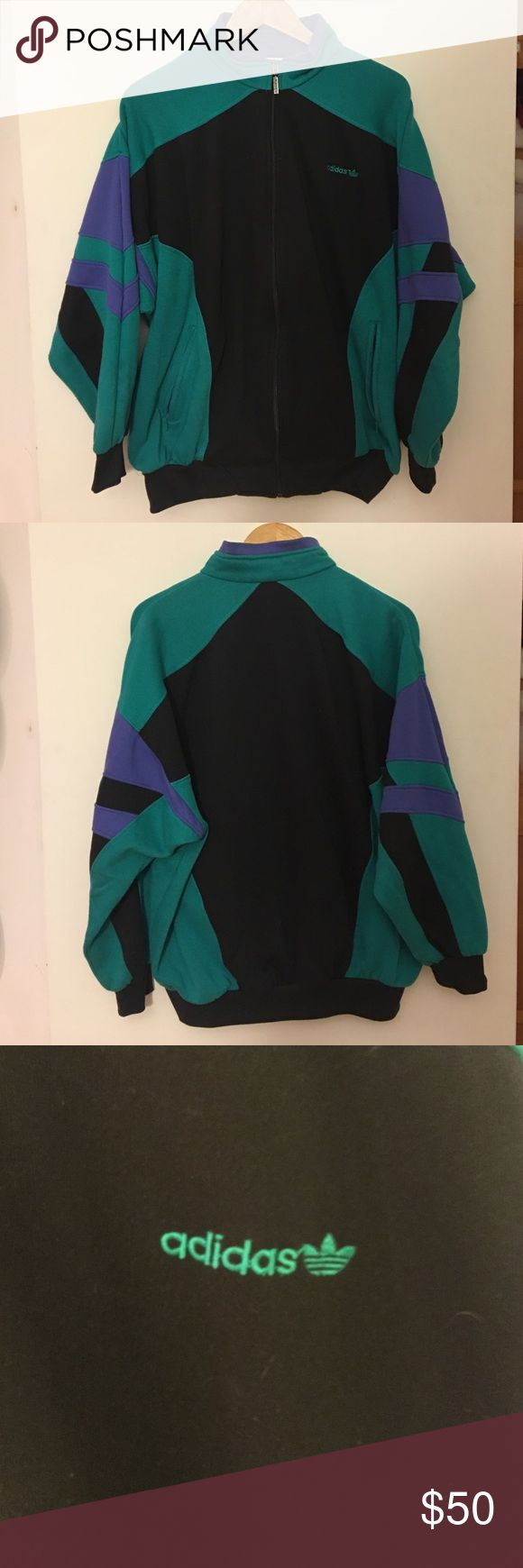 Vintage Adidas Jacket Vintage adidas jacket in great condition with retro colors, little bit of wear on the zipper from time but no stains or rips! Size LARGE Adidas Jackets & Coats