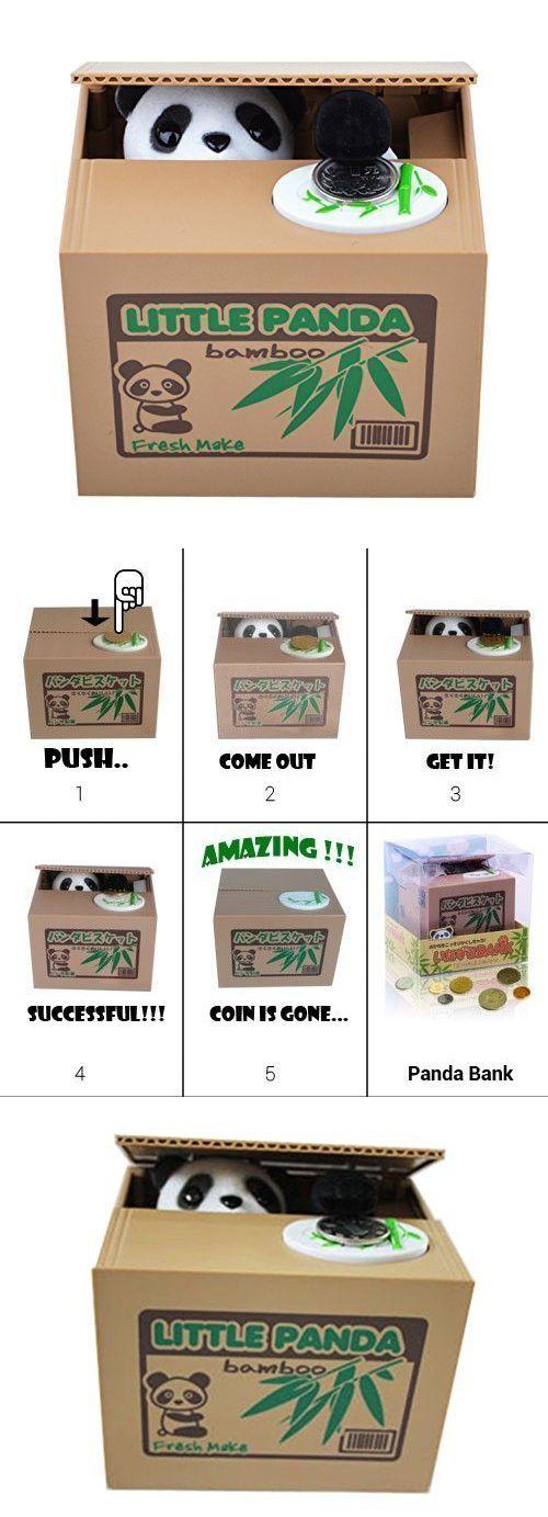 Gifts for mom,Cute Stealing Coin Cat Money Box Piggy Bank Novelty Gifts for Kids, Panda (Cute Panda)