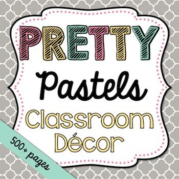 This bundle has everything you need to decorate your classroom and more! It features a pretty pastel theme. It includes over 500 printables as well as some editable files.This set includes: Printable PDF Files-Alphabet-Awards (Merit, Student of the Week/Month, Birthday)-Bathroom Passes-Behavior Chart-Birthday Display-Bunting-Calendar Set (Months, Days of the Week, Today is..., Days in School, Weather)-Center Signs-Classroom Jobs-Classroom Rules-Clock Minutes-How We Get Home-Nametags-Number…