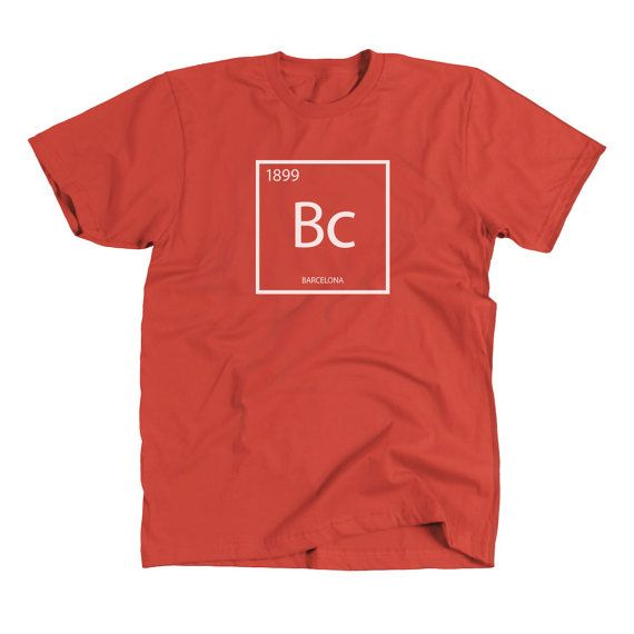 BC Element T-shirt - Mens Barcelona Shirt. With Barcelonas founded date as the atomic number.  This chemically inspired design is printed on a