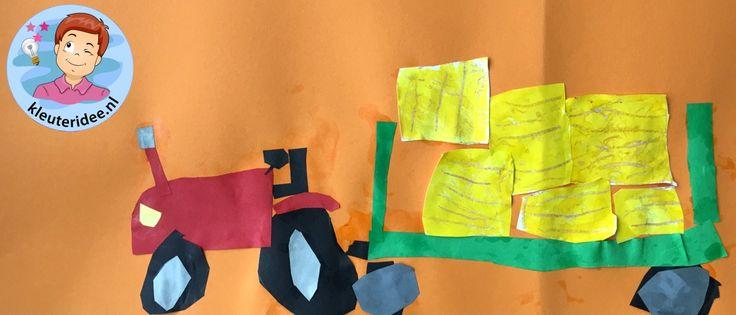 Tractor met balenperser, kleuteridee, thema de koe, Kindergarten cow theme, tractor craft 2.