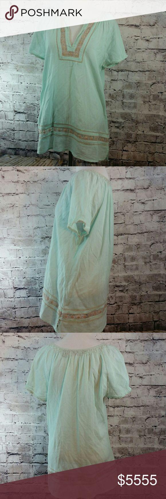 Pretty mint gauzy boho festival blouse Pretty mint gauzy boho festival blouse. No holes tears or stains. Eddie Bauer Tops Blouses