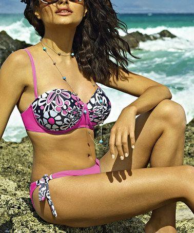 Loving this Fuchsia Floral Bandeau Bikini Top