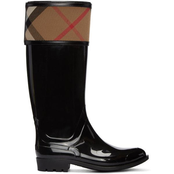 Burberry Black Crosshill Rain Boots ($310) ❤ liked on Polyvore featuring shoes, boots, black, black wellington boots, black shoes, black knee high boots, knee high rubber boots and burberry shoes