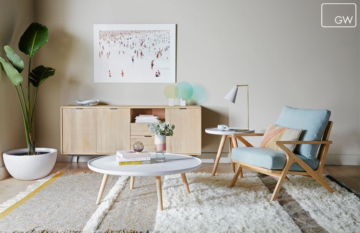 Vittoria Folk Occasional Chair, Saskia Pipe Cushion, Stripe Flokati Rug, Tropea Round Planter, Mabel Buffet, Mabel Concrete Coffee Table, Mabel Concrete Side Table