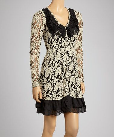 ... This Black Lace-Overlay A-Line Dress by Ryu is perfect! #zulilyfinds