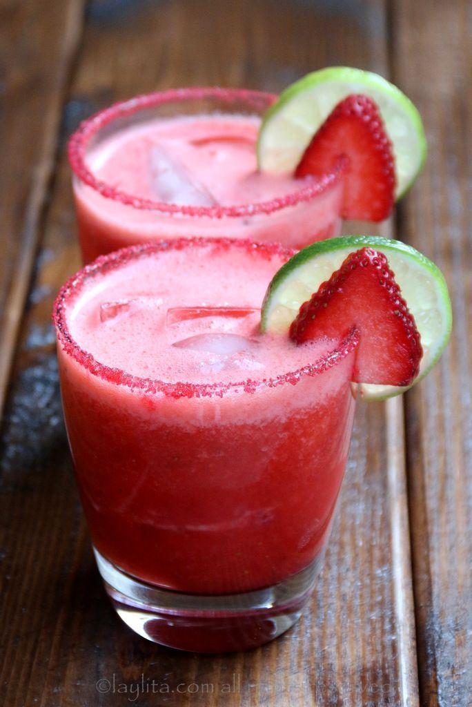 Strawberry Margarita - Homemade strawberry margarita recipe made with fresh strawberries, lime juice, sugar or honey, orange liqueur, and tequila.