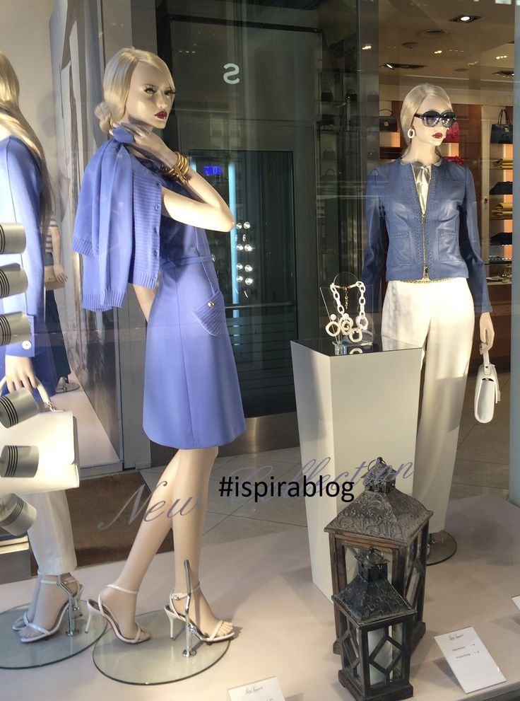 Luisa Spagnoli Milan - Spring Preview 2018 - Womenswear Collection - blue and white outfits with white heeled sandals and accessories 2018-02-27 #ispirablog #luisaspagnoli