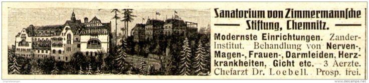 Original-Werbung/ Anzeige 1910 - SANATORIUM VON ZIMMERMANN´SCHE STIFTUNG…