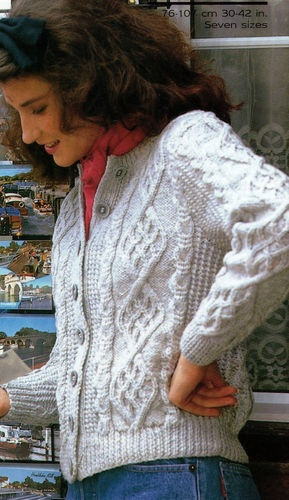 90b852169aac16 Knitting pattern ladies modern aran cable cardigan  100 freepost ...