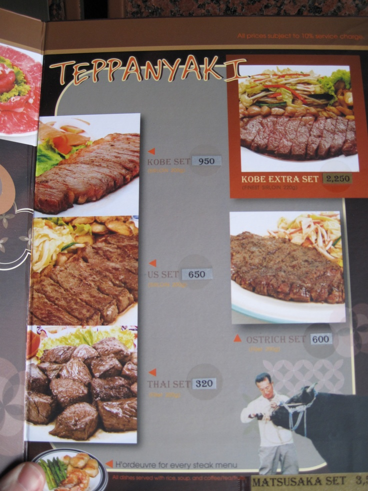 Kobe beef menu at Kobe Steakhouse in Bangkok Thailand
