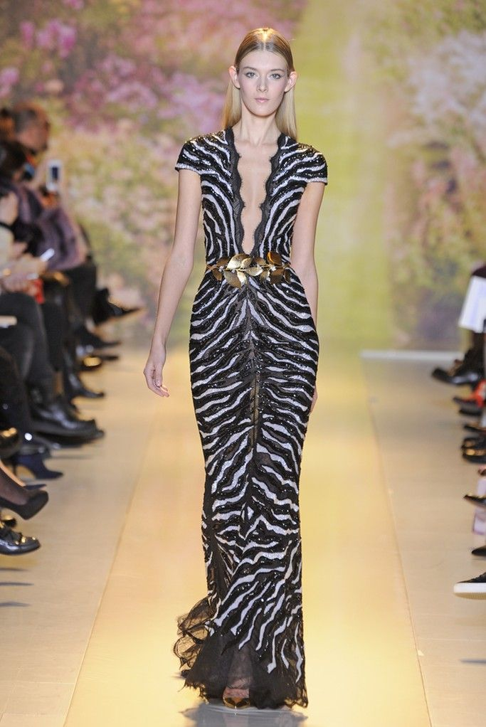 Zuhair Murad Spring/Summer 2014 Couture Line.  women's fashion and runway style.  animal print gown with class.