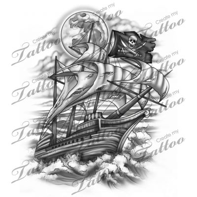 Marketplace Tattoo Pirate ship #16306 | CreateMyTattoo.com ...