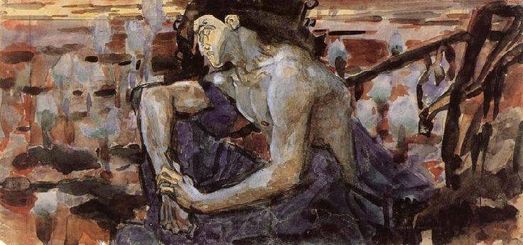 Demon seated, sketch 1890 Mikhail Vrubel