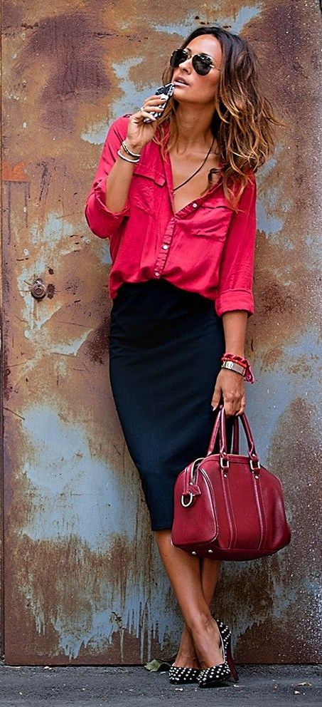Red and navy, classic look ❤