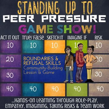 What do you get when you combine role playing, art making, imagination, team collaboration, and conversations boundaries and refusal skills?  A Jeopardy inspired Game Show...about Peer Pressure!  This FuN!, LOW-PREP, EDITABLE, interactive lesson & game can be used as a stand-alone classroom lesson about Peer Pressure, as a refusal skills and peer pressure introduction, or as a review and/or supplement to your peer pressure and social skills lessons.This classroom lesson is hands-on and ex...