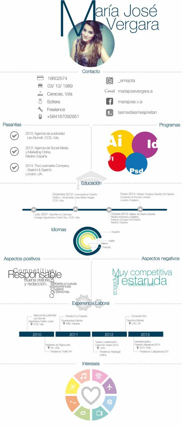 infografia resumen curricular (ficticio) on Behance