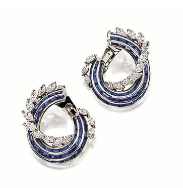 Sapphire and Diamond Earclips, Graff
