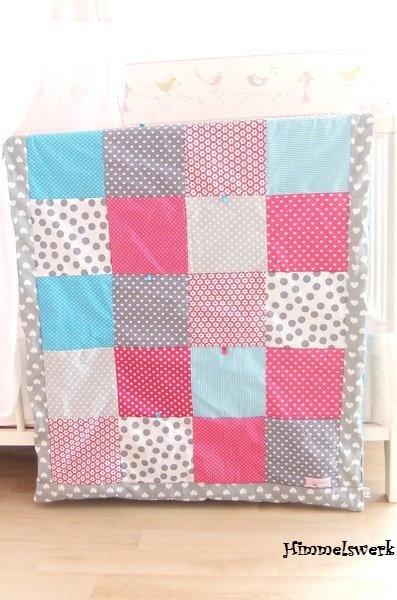 Babydecken - 70*100 Kuscheldecke ♥Pink-Grau... - ein Designerstück von Himmelswerk bei DaWanda