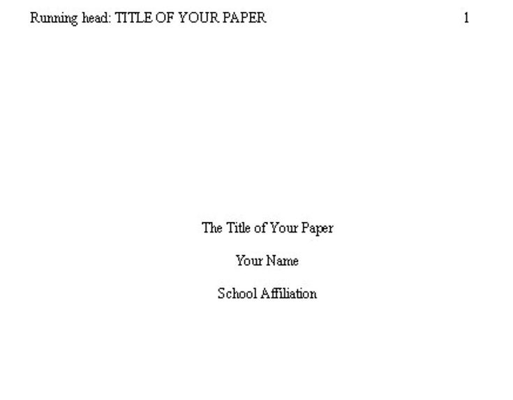 title page for paper