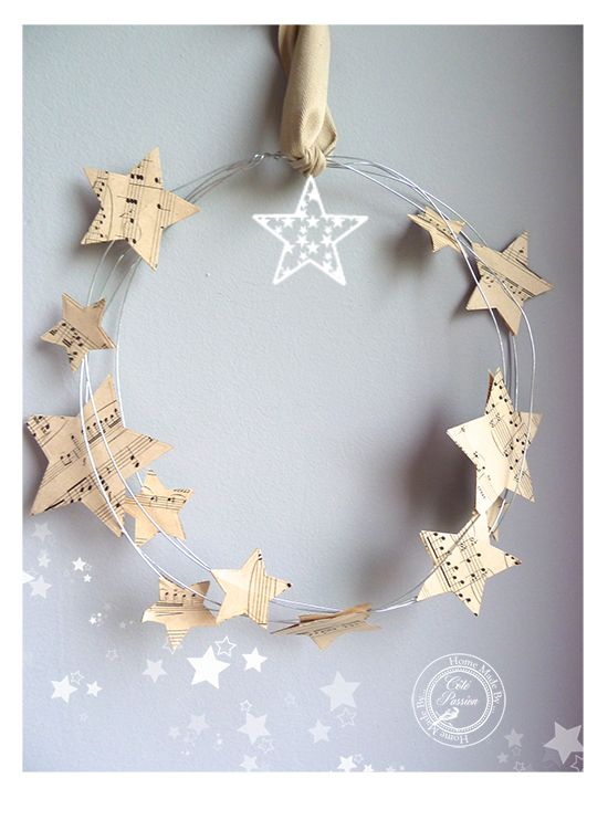 wire wreath with stars -