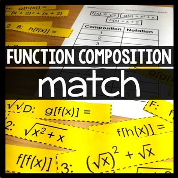 FREE--Function Composition Matching Activity...This activity is a good Algebra, Algebra 2 10th, 11th  Activities, Printables, Math Centers  introduction to function composition. There are three functions - a linear, a quadratic and a radical - that each compose with each other and with themselves. After matching the compositions to their notations, students record their answers on the included answer sheet. An answer key is also included.