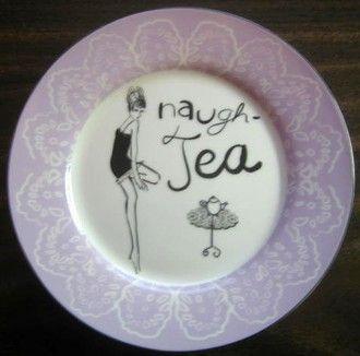 Lavender Whimsical Naugh-Tea Lingerie Girl Lace Edge Plate
