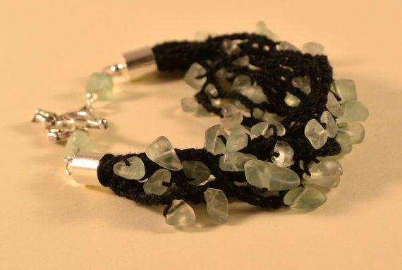 Crochet and minerals - fluorite bracelet, summer jewelry, handmade bracelet