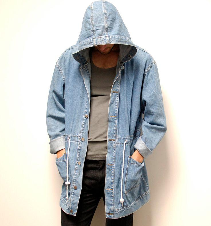 DENIM PARKA hooded blue cotton TOGGLE  jacket.: Hoods Denim Jackets, Hoods Jeans, Cotton Toggl, Denim Park, Toggl Jackets, Blue Cotton, Parkas Hoods, Hoods Blue, Jeans Parkas