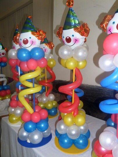 centro mesa payaso con globos