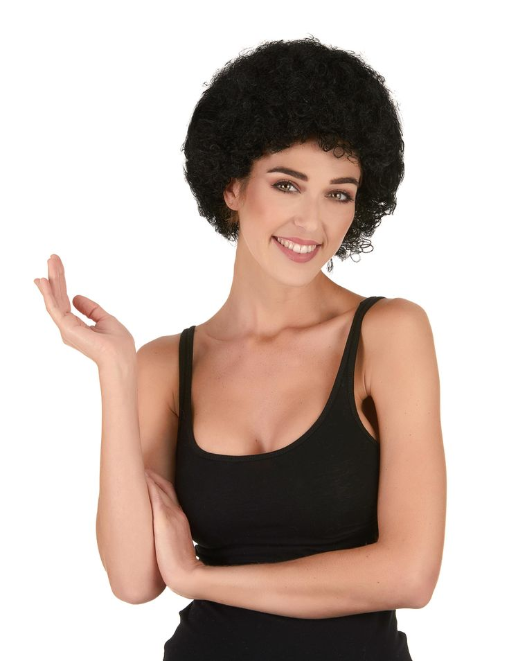 Peluca afro / payaso negra estándar adulto: Esta peluca afro para adulto es de pelo sintético negro.El corte tiene volumen con rizos.Esta peluca es perfecta para tus disfraces disco de Carnaval.