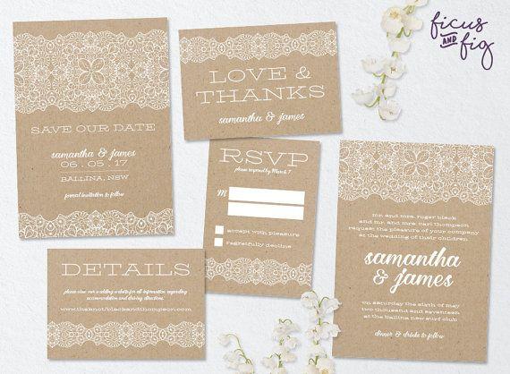 Printable wedding invitation set, Lace Design Wedding set, Kraft invitation, Custom wedding invitation, wedding set