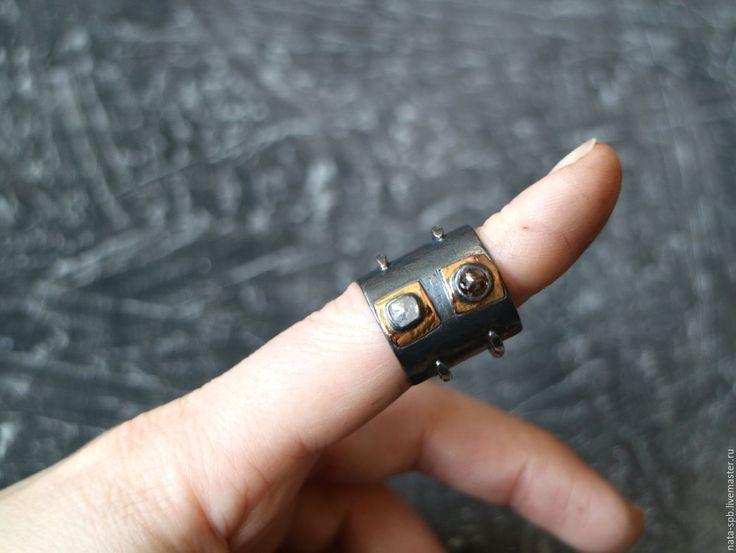 Купить -ПТ- кольцо (алмазы, серебро, золото) - серебряный, кольцо с алмазами, широкое кольцо