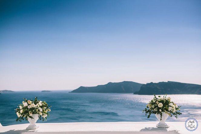 Wedding Flowers | Santorini Wedding | Destination Wedding by Stella and Moscha - Exclusive Greek Island Weddings | Photo by George Pahountis