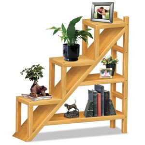 "Staircase Shelving Unit Pattern  This stylish bookshelf will compliment any home. 44""H x 43""W x 11""D. Parts Req'd: Wooden Plugs (1) W-205  Pattern #2428  $14.95    ( crafting, crafts, woodcraft, pattern, woodworking ) Pattern by Sherwood Creations"