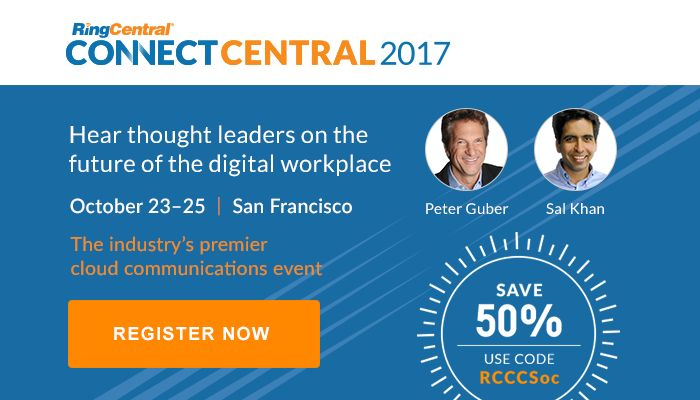 Don't miss Sal Khan, Founder and #CEO Khan Academy, and Peter Guber, Co-Owner Golden State Warriors, #Entrepreneur, and #1 NYT Best-Selling Author, as they explore the future of the #digital #workplace at #ConnectCentral17! Register today with code RCCCSoc and save 50% off your 3-day #conference pass: http://ringcentr.al/2fGpioB // #SanFrancisco #UCaaS